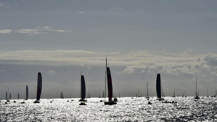 Les monocoques Imoca quittent Les Sables d'Olonne, pour prendre le départ du Vendée Globe, le 6 novembre 2016. (LOIC VENANCE / AFP)