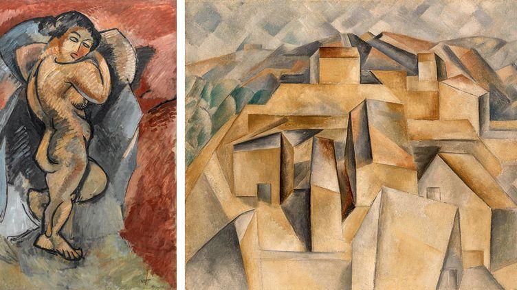 """A gauche, Georges Braque, """"Grand nu"""", hiver 1907-juin 1908, Centre Pompidou, Musée national d'art moderne,Paris - A droite, Pablo Picasso, """"Maisons sur la colline, Horta de Ebro"""", été 1909, Nationalgalerie, Museum Berggruen (SMB), Berlin  (A gauche © Centre Pompidou, MNAM-CCI/G.Meguerditchian/ Dist. RMN-GP © ADAGP, Paris 2018 - A droite, © BPK, Berlin, Dist. RMN-Grand Palais / J.Ziehe © Succession Picasso 2018)"""