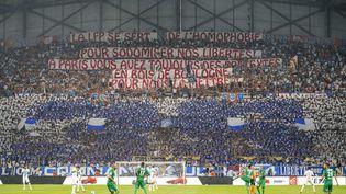 Ouissem Belgacem dénonce un climat d'homophobie permanent dans le football. Ici à Marseille le 1er septembre 2019 lors d'un match contre Saint-Etienne (TOMASELLI ANTOINE / MAXPPP)