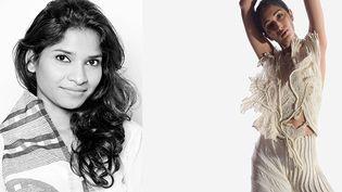 Lacréatrice Vaishali Shadangule, fondatrice de la marqueVaishali S, (à gauche) et une de ses créations de la collection Rebirth pour le printemps-été 2021 (Vaishali S)