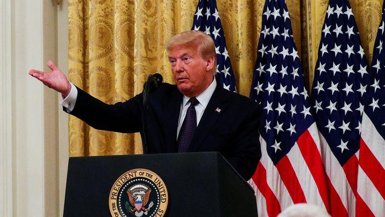 Le président des Etats-Unis Donald Trump lors d'une conférence de presse à la Maison Blanche, le 17 juin 2020. (TOM BRENNER / REUTERS)