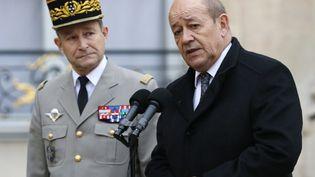Le ministre de la Défense Jean-Yves Le Drian sur le perron de l'Elysée à Paris, le 12 janvier 2014. (PATRICK KOVARIK / AFP)