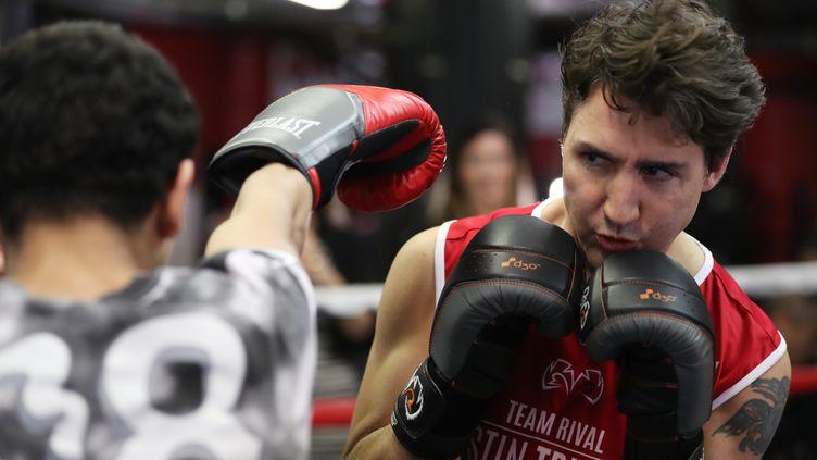 Le Premier ministre canadien, Justin Trudeau, s'entraîne à boxer dans un gymnase à New York, le 21 avril 2016. (CARLO ALLEGRI / REUTERS)