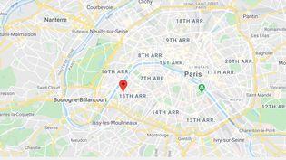 Le quartier de Beaugrenelle (15e arrondissement), à Paris. (GOOGLE MAPS / FRANCEINFO)