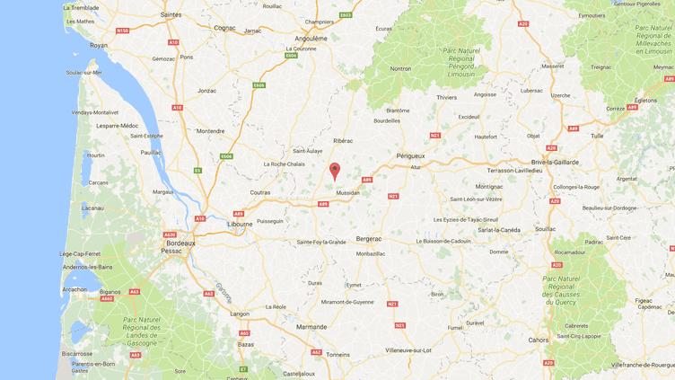 Les faits se sont déroulés à Saint-Michel-de-Double (Dordogne) lors d'une course cycliste amateur, le dimanchge 1er octobre 2017. (GOOGLE MAPS / FRANCEINFO)