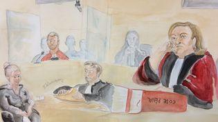 La présidente de la cour d'assises de Seine-et-Marne lors du procès des parents du petit Bastien, le 11 septembre 2015. (ELISABETH DE POURQUERY / FRANCETV INFO)