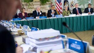 Le président Obama intervenant lors du débat télévisuel entre démocrates et républicains à Washington (AFP PHOTO - Saul LOEB)