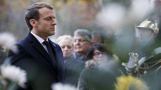 Emmanuel Macron devant la statue de Georges-Clemenceau, à Paris, le 11 novembre 2017. (FRANCOIS GUILLOT/AFP)
