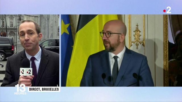 """""""Gilets jaunes"""" : depuis Bruxelles, Emmanuel Macron évite la question qui fâche"""