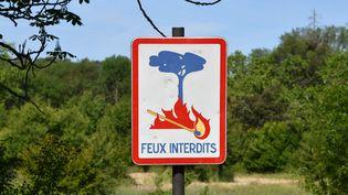 Un panneau indiquant l'interdiction des feux dans une forêt près de Montpellier (Hérault), le 26 mai 2019. (PASCAL GUYOT / AFP)