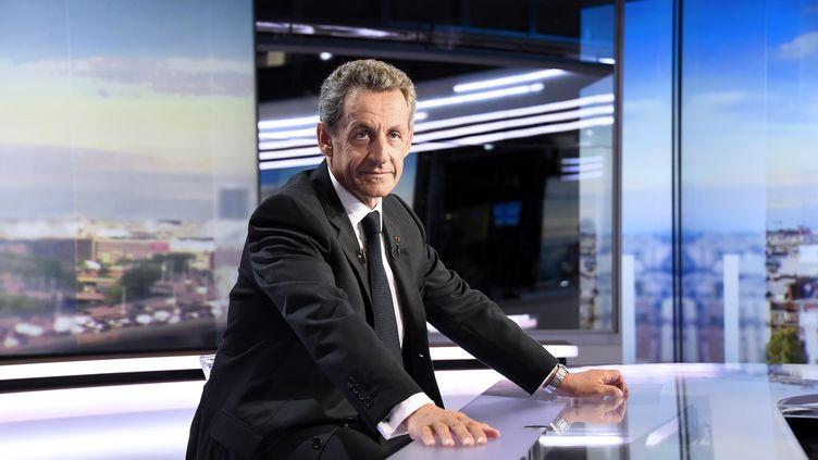 Nicolas Sarkozy sur le plateau du JT de 20 heures de TF1 le 24 août 2016.  (BERTRAND GUAY / AFP)