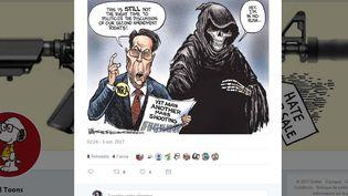 Le dessinateur de presse américain Kevin Siers met en cause, dans un tweet posté le 3 octobre 2017, le lobby des armes la NRA après la fusillade de Las Vegas (Etats-Unis). (KEVIN SIERS / TWITTER)