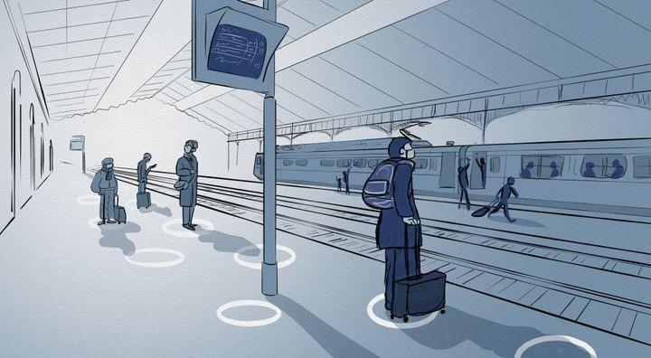 Dans les gares SNCF, des cercles ont été apposés sur les quais pour inciter à la distanciation physique. (NICOLAS DEWIT / RADIO FRANCE)