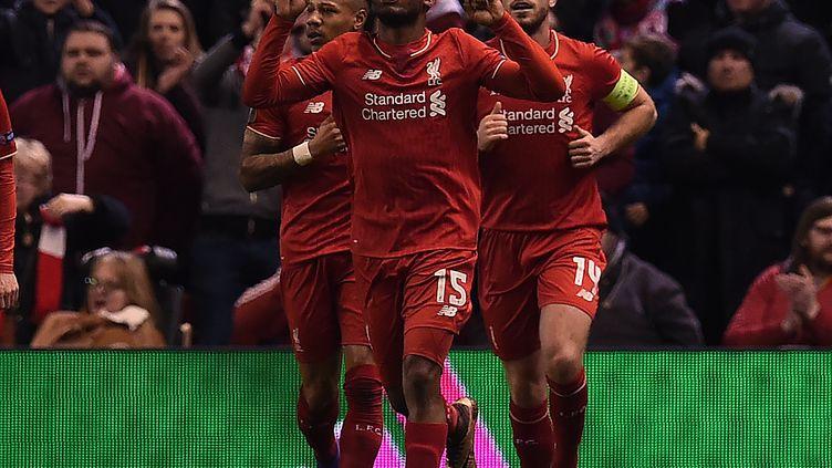 Les Reds célèbrent leur but marqué face aux Citizens. (PAUL ELLIS / AFP)