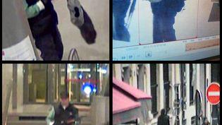 """Deux images issues de caméras de vidéosurveillance d'Abdelhakim Dekhar, le tireur présumé de """"Libération"""" et de la Défense, prises à Paris,le 15 novembre 2013 pour la première, et le 18 novembre 2013 pour la seconde. (BFM TV / AFP)"""