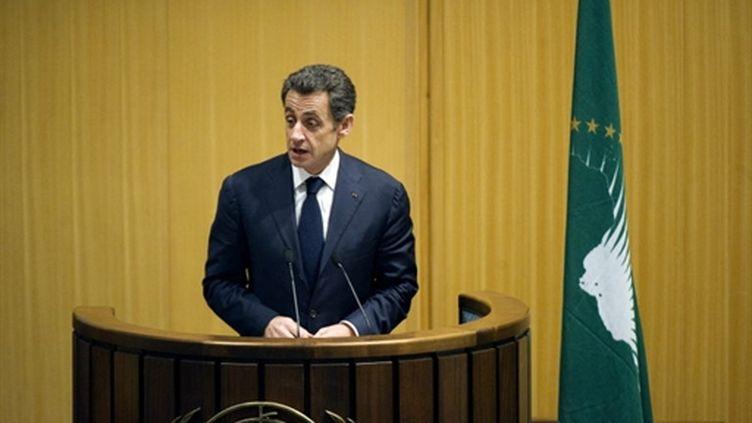 Nicolas Sarkozy à la tribune du sommet de l'Union africaine, le 30 janvier 2011 à Addis Abeba, capitale de l'Ethiopie (AFP/LIONEL BONAVENTURE)