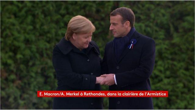 Angela Merkel et Emmanuel Macron dévoilent une plaque du souvenir à Rethondes