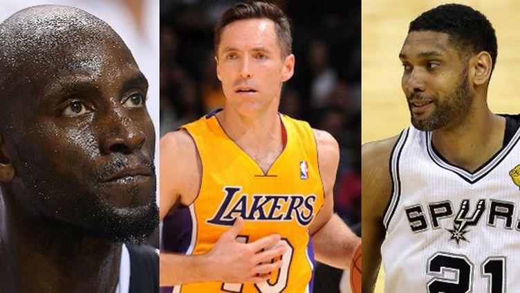 Kevin Garnett (Brooklyn Nets), Steve Nash (Los Angeles Lakers) et Tim Duncan (San Antonio Spurs)