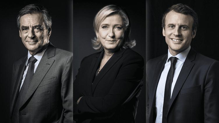 Trois des candidats à l'élection présidentielle : François Fillon, Marine Le Pen et Emmanuel Macron. (AFP / FRANCEINFO)