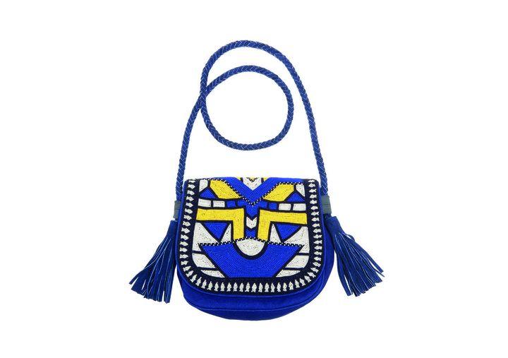 Sac porté travers, bleu, en coton avec anses en cuir et rabat entièrement brodé de perles. Collab Antik Batik/Monoprix  (Antik Batik/Monoprix)