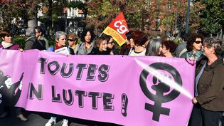 Une manifestation pour l'égalité salariale entre les femmes et les hommes à Toulouse, le 3 novembre 2017. (MAXPPP)