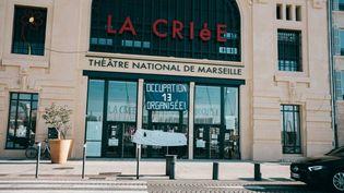 Le théâtre national de La Criée à Marseille durant son occupation par les intermittents du spectacleau cours du premier semestre 2021. (THEO GIACOMETTI / HANS LUCAS)