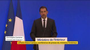 Le ministre de l'Intérieur Christophe Castaner lors d'une conférence de presse, à Paris, le 13 septembre 2019. (FRANCEINFO)