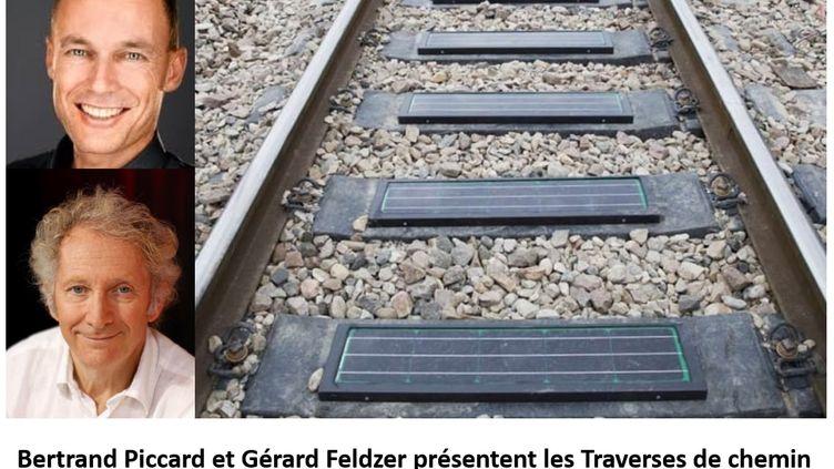 Bertrand Piccard et Gérard Feldzer présentent les traverses de chemin de fer en matériaux recyclables et fournisseurs d'énergie. (GREEN RAIL)