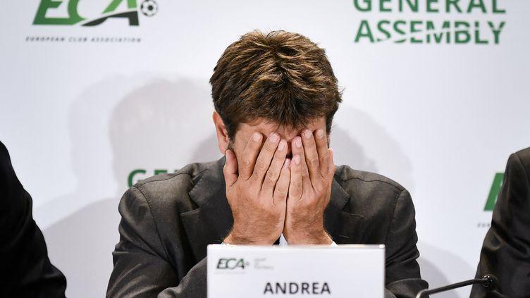 Andrea Agnelli, président de la Juventus Turin, lors d'une conférence de presse de l'Association des Clubs Européens, le 10 septembre 2019 (FABRICE COFFRINI / AFP)