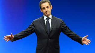 Nicolas Sarkozy lors d'un meeting de campagne, à Montpellier (Hérault), le 28 février 2012. (PASCAL GUYOT / AFP)