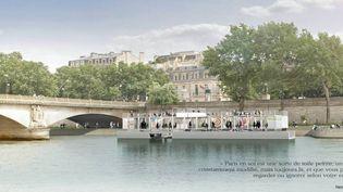 Le Fluctuart, centre d'art urbain flottant, sera amarré port du Gros-Caillou à Paris (7e).  (Seine Design / )