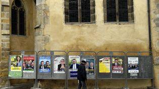 Des panneaux électoraux à Nancy (Meurthe-et-Moselle), le 2 décembre 2015. (MAXPPP)