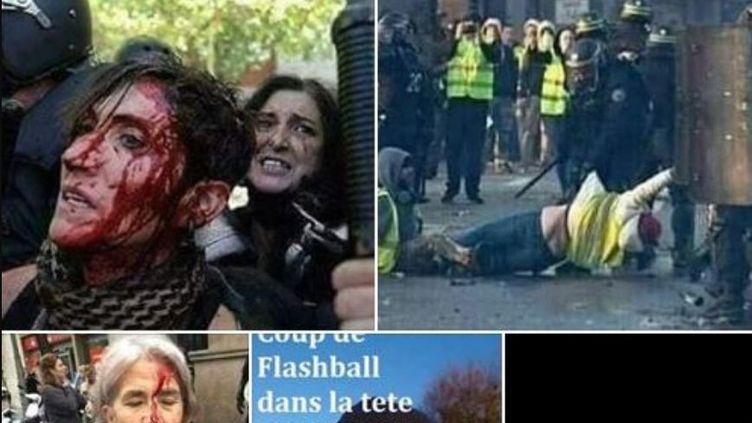 """Des photos relayées sur les réseaux sociaux et présentées comme étant liées aux mobilisations des """"gilets jaunes"""". (FACEBOOK / FRANCEINFO)"""
