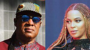 Stevie Wonder le 10 juillet 2016 à Hyde Park (Londres) et Beyoncé le 3 juillet à Wembley (Londres).  (SBD/WENN.COM/SIPA et Daniela Vesco/AP/SIPA)