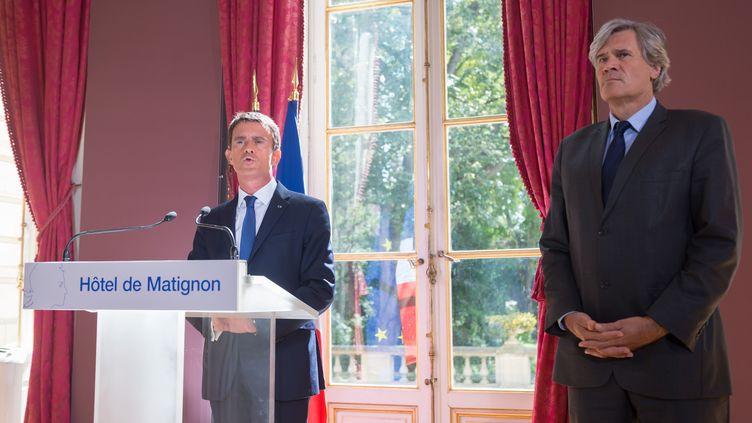 Manuel Valls et le ministre del'Agriculture, Stéphane Le Foll, le 3 septembre 2015, à Paris. (WITT / SIPA)