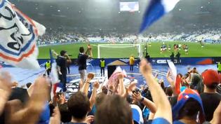 """Des supporters de l'équipe de France chantent le chant """"Gérard Depardieu, sors-nous ta vodka"""", dans les tribunes du Stade de France, à Saint-Denis (Seine-Saint-Denis), le 28 mai 2018, peu après la victoire des Bleus face à l'Irlande (2-0). (Capture écran Twitter / @Skyns13)"""
