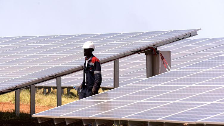 Un technicien de la centrale solaire de Bokhol, dans le nord du Sénégal, inaugurée en octobre 2016. Une centrale de 20 MGW, soit 75000 panneaux qui s'étendent sur 40 hectares. (SEYLLOU / AFP)
