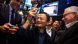 Le PDG d'Alibaba, Jack Ma, le 19 septembre 2014 à New York (Etats-Unis) pour l'introduction en bourse de son groupe. (ANDREW BURTON / GETTY IMAGES NORTH AMERICA / AFP)