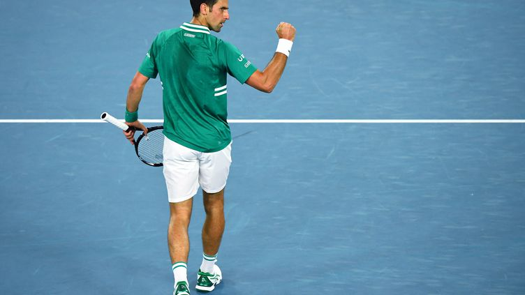 Le Serbe Novak Djokovic, vainqueur du Français Jérémy Chardy au 1er tour de l'Open d'Australie 2021 (WILLIAM WEST / AFP)