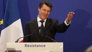 Christian Estrosi (Les Républicains), vainqueur des régionales en Paca, le 13 décembre 2015 à Nice (Alpes-Maritimes). (VALERY HACHE / AFP)