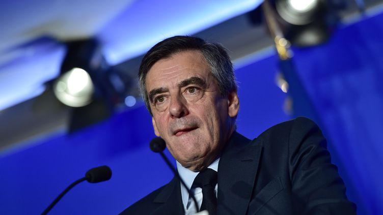 François Fillon lors de la présentation de son programme lundi 13 mars 2017. (CHRISTOPHE ARCHAMBAULT / AFP)