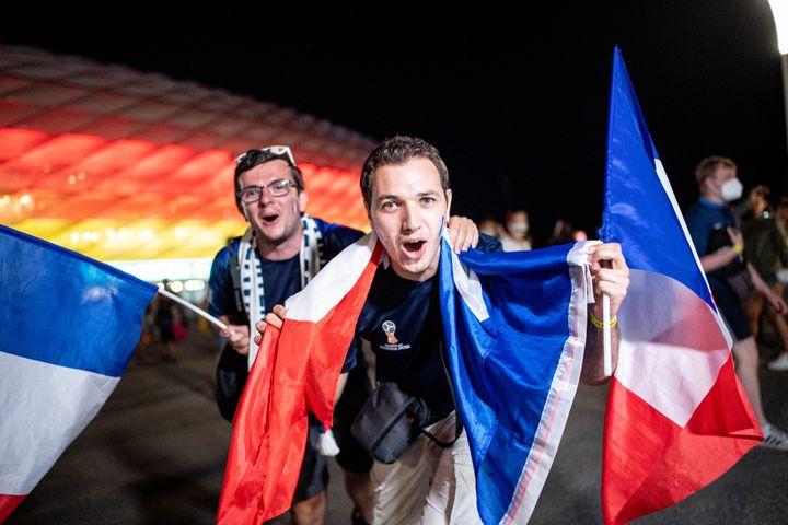 Des supporters français aux abords del'Allianz Arena de Munich après la victoire de la France contre l'Allemagne, le 15 juin (MATTHIAS BALK / DPA)