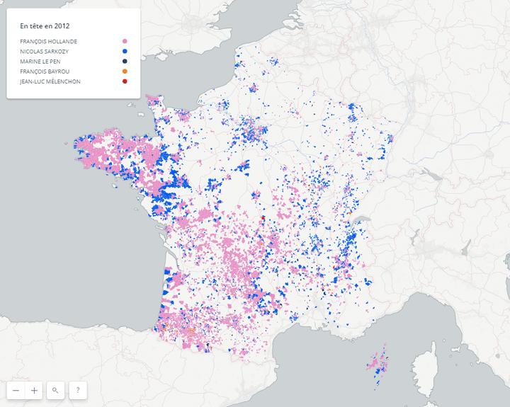 CARTE. Pour qui avaient voté en 2012 les communes où Macron est arrivé en tête ? (FRANCEINFO)