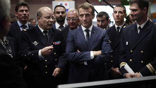 Emmanuel Macron, le 23 octobre 2018 au Bourget (Seine-Saint-Denis). (BENOIT TESSIER / AFP)