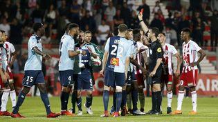 Le match de barrage de Ligue 2 entre Ajaccio et le Havre s'était déroulé sous grande tension, le 20 mai 2018 à Ajaccio. (PASCAL POCHARD-CASABIANCA / AFP)