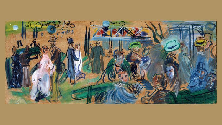 """Raoul Dufy, """"Bal au moulin de la Galette"""", 1943, étude pour une huile sur toile de 1943 intitulée """"Le Moulin de la Galette"""", Cagnes-sur-Mer, château-musée Grimaldi, Musée Renoir, dépôt du Mnam/CCI Centre Pompidou, legs de Mme Raoul Dufy (©)"""