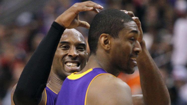 La joie de Kobe Bryant et Metta World Peace