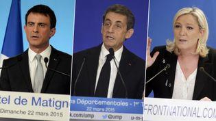 Manuel Valls, Nicolas Sarkozy et Marine Le Pen s'expriment au soir du premier tour des élections départementales, le 22 mars 2015. (AFP / FRANCETV INFO)