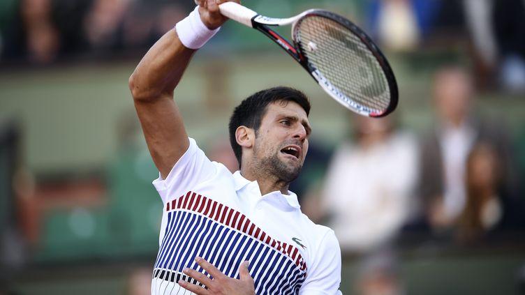 Novak Djokovic en plein effort (ERIC FEFERBERG / AFP)