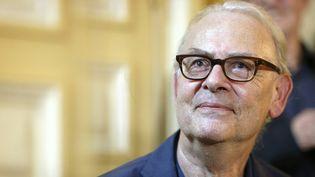 Patrick Modiano lors de la conférence de presse chez Gallimard pour son Nobel le 9 octobre 2014  (THOMAS SAMSON / AFP)